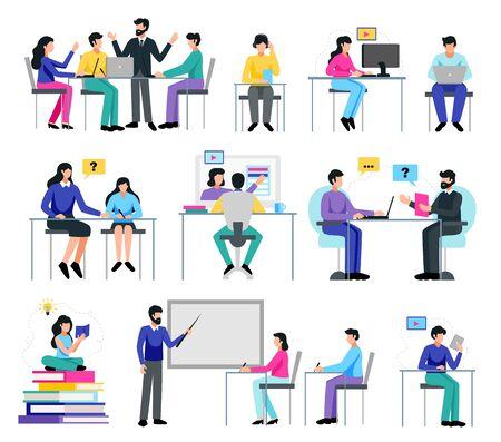 Online education set with learning symbols flat isolated vector illustration Illustration