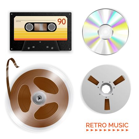 Realistic vintage music player set with isolated images of various recording mediums with text and shadows vector illustration Illustration