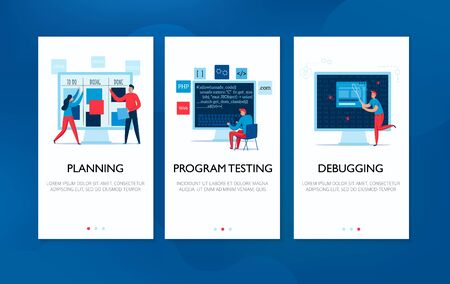 Vertical banners set with programmers planning work testing programs and debugging flat isolated vector illustration