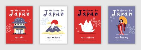 Four isolated posters on theme of japan life history culture nature cartoon vector illustration