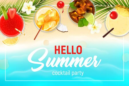 Cocktails top view realistic summer poster with fruit  vector illustration