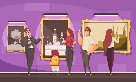Guide excursion pictures museum composition with luxury environment and doodle characters of visitors and tour guide vector illustration