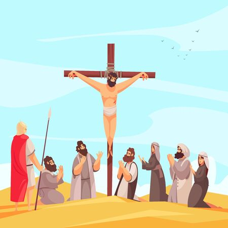 Bible narratives jesus crucifix composition with christ nailed to cross on mount calvary with praying people vector illustration Illusztráció
