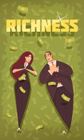 Rich people flat cartoon vertical banner with wealthy chic dressed couple in flying dollars background vector illustration
