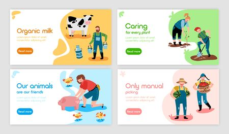 Set of four eco farming horizontal banners with doodle images characters and editable text with buttons vector illustration