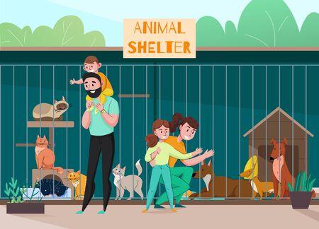 Composición familiar del refugio de animales con personajes de paisajes al aire libre de niños y padres frente a la ilustración de vector de jaula