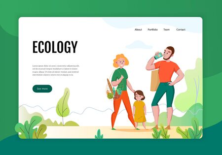 Zero waste concept flat banner web page with family using eco friendly sustainable natural products vector illustration