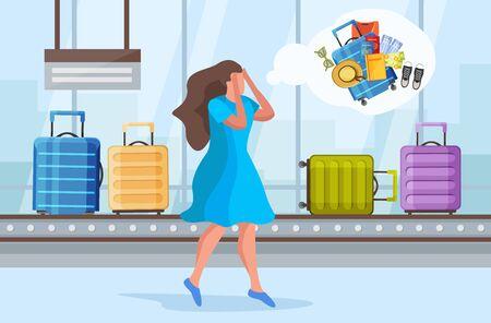 Flache Zusammensetzung des verlorenen Koffers mit Flughafen-Gepäckausgabebereich mit Rolle und Charakter der beunruhigten Frau-Vektorillustration