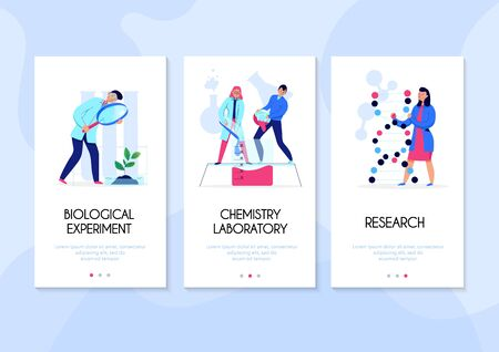 Three vertical banners set with people doing research and performing experiments in science laboratory flat isolated vector illustration