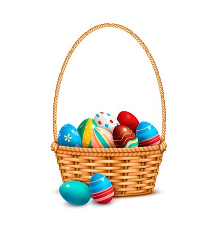 Willow wicker basket one handle full with painted colorful easter eggs closeup realistic isolated image vector illustration