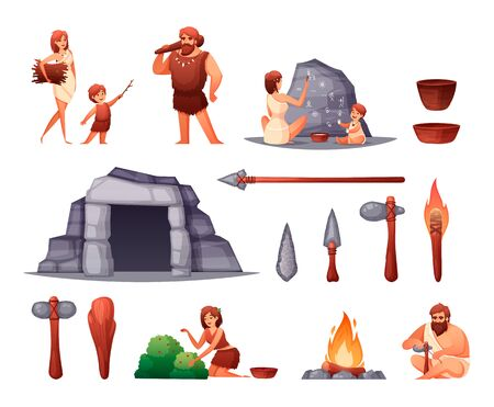 Prehistoric stone age caveman family home rock paintings open fire weapon tools flat set isolated vector illustration Illustration