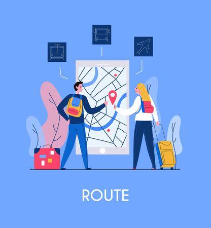 Zwei Touristen und mobile Anwendungsschnittstelle des Tourismus mit Karten und flacher Vektorillustration der Navigation