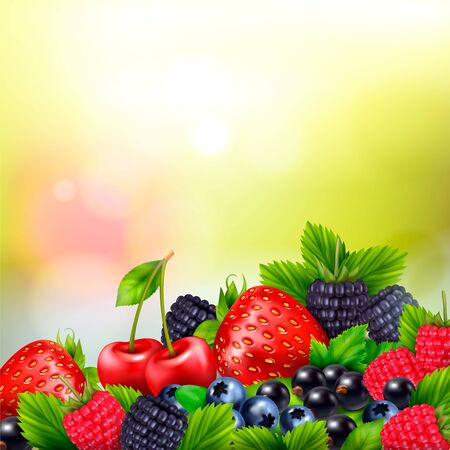 Berry fruit realistic blurred background with pile of berries and ripe leaves with bright lens flares vector illustration