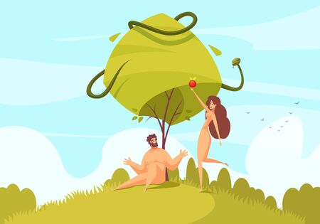Bible narratives adam and eve composition with characters of our first parents with snake of temptation vector illustration