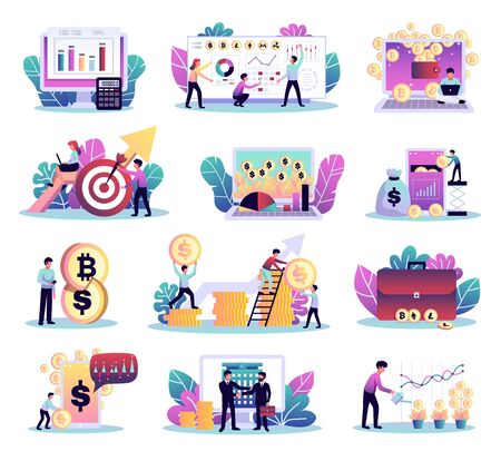 Digital investment finance trading set of isolated compositions with colourful symbols coins computers and human characters vector illustration Vektorgrafik