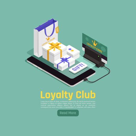 Customer loyalty retention isometric background composition with read more button images of gift boxes and smartphone vector illustration 向量圖像