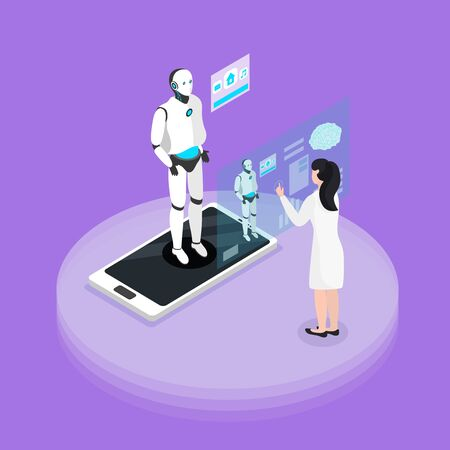 Human robot interaction experience with programmable platform isometric background composition with humanoid on smartphone screen vector illustration Illustration