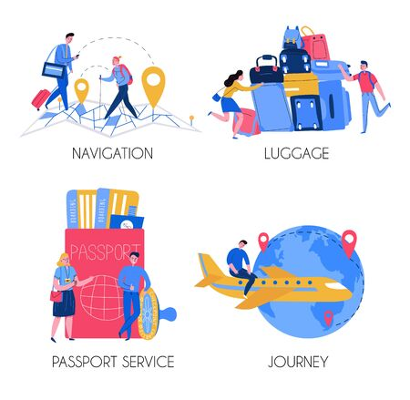Tourism 2x2 design concept with tourists luggage passport service compositions flat isolated vector illustration