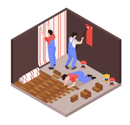 Home remodeling repair service isometric composition with renovation team wallpapering laying floor tiles painting walls vector illustration