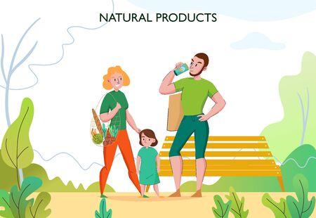 Zero-Waste-Lifestyle mit junger, fitter Familie im Freien mit umweltfreundlichen, nachhaltigen Naturprodukten, flache Vektorgrafiken