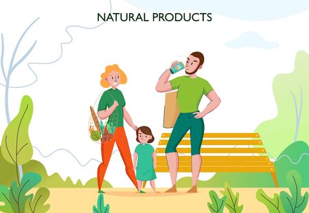 Zero waste lifestyle with young fit family outdoor using eco friendly sustainable natural products flat vector illustration