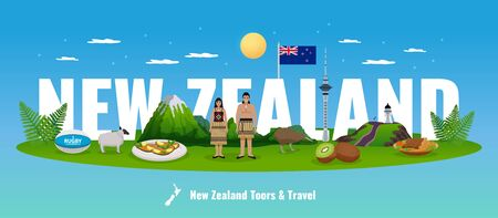 New zealand horizontal composition with big text behind elements of flora and fauna with native people vector illustration Imagens - 128161082