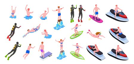 Different water sports isometric icon set with surfing windsurfing diving swimming and other types of sports vector illustration