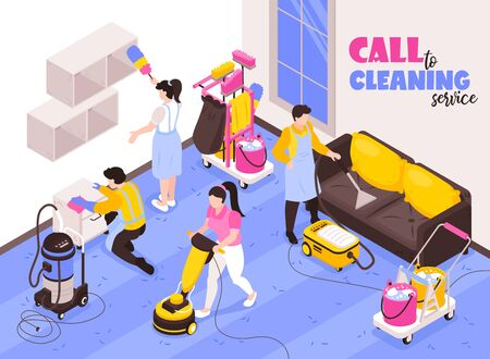 Cleaning service isometric advertising composition with professional team at work with vacuum cleaners sponge duster vector illustration