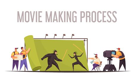 Movie making process flat cartoon composition with film director and camera operator shooting fighting actors vector illustration