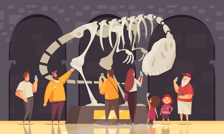 Guide excursion dinosaur skeleton composition with panopticon exhibition room indoor scenery and human characters of visitors vector illustration