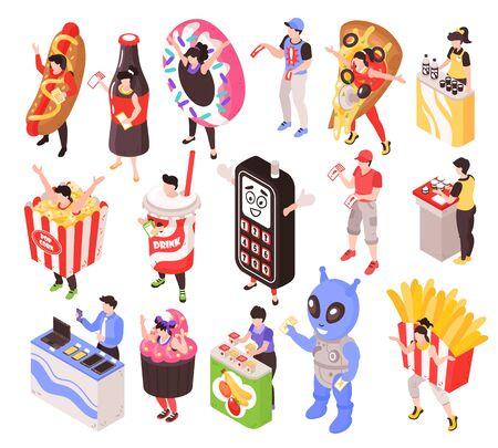 Personajes de promotores de ventas que publicitan productos de comida rápida y electrónica, disfraces, mostradores portátiles, conjunto isométrico, ilustración vectorial aislada