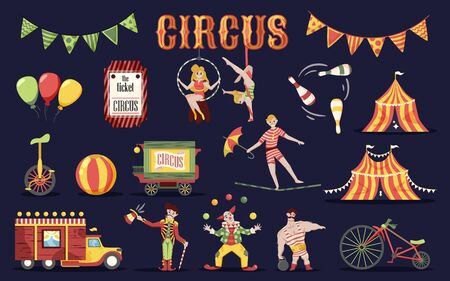 Circus retro vintage set of isolated doodle style images human characters of performers and professional equipment vector illustration