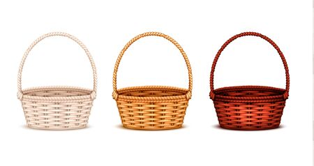 Colorful willow wicker baskets set of white natural and dark stained wood 3 realistic isolated images vector illustration  Ilustração