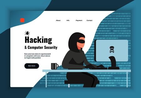 Hacker page design with computer security symbols flat vector illustration