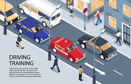 Isometric driving school horizontal background with outdoor scenery and driver instruction car moving along street traffic vector illustration Stock Illustratie