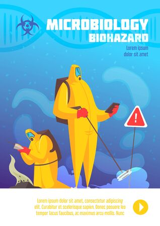 Microbiology poster with polluted land being observed by people in biohazard suites with symbols and text vector illustration