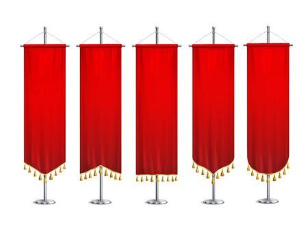 Cinq fanions rouges de différentes formes avec des glands d'or attachés à des socles métalliques ensemble réaliste illustration vectorielle isolée