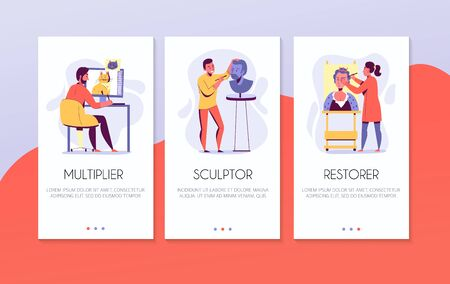 Creative professions vertical banners set with animation artist sculptor and restorer at work flat isolated vector illustration