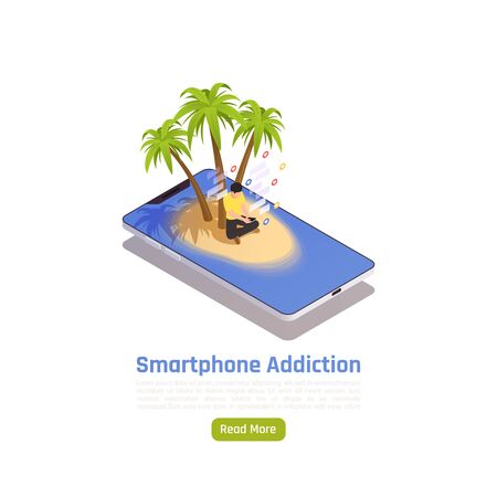 Social network addiction isometric background with conceptual image of smartphone island with palms button and text vector illustration