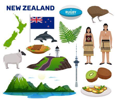 Il turismo della Nuova Zelanda ha messo con l'illustrazione di vettore isolata piana di simboli dell'alimento e della natura Vettoriali