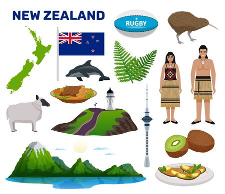 New Zealand tourism set with nature and food symbols flat isolated vector illustration