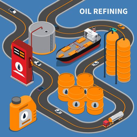 Oil and gas industry isometric composition with refining equipment and transportation means 3d vector illustration Illustration