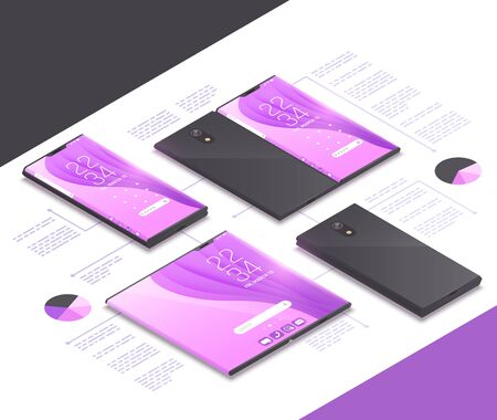 Foldable gadgets concepts isometric mockup composition with next gen models of electronics tablets smartphones and text vector illustration