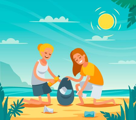 Beach cleanup flat composition with volunteers collecting washed up rubbish bottles drinking beakers plastic junk vector illustration  Illustration