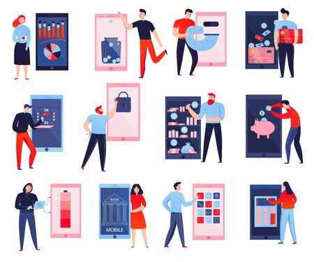 Iconos planos coloridos establecidos con personas que usan banco móvil aislado en la ilustración de vector de fondo blanco