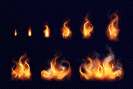 Fire flame realistic set of small and big bright elements on black background isolated vector illustration
