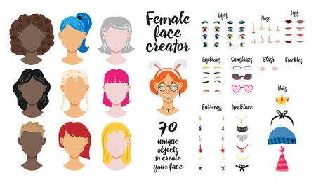 Female face creator set of seventy unique objects to create woman face flat vector illustration