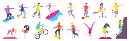 Street sport flat set with with teen characters doing outdoors fitness exercises riding bicycle self balancing scooter and skateboard vector illustration Illusztráció