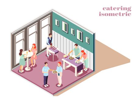 Catering and banquets indoors isometric composition with food and drinks vector illustration