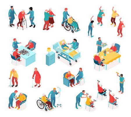 Conjunto isométrico del hogar de ancianos con personal que monitorea a pacientes discapacitados y personas mayores que practican ejercicios deportivos o juegos de mesa aislados ilustración vectorial